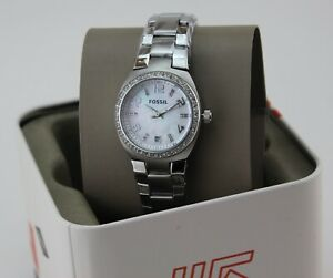 NEW AUTHENTIC FOSSIL COLLEAGUE SILVER MOTHER OF PEARL CRYSTAL WOMEN AM4141 WATCH