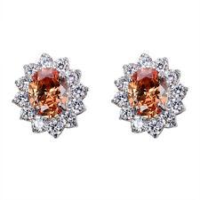 Women's Fashion Oval Zircon Crystal Ear Stud Earrings White Gold Filled Jewelry