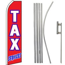Tax Services Red / White / Blue Swooper Flag & 16ft Flagpole Kit/Ground Spike