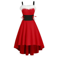 Women's Spaghetti Straps Christmas Party Cocktail Hi-Low Mrs. Claus Santa Dress