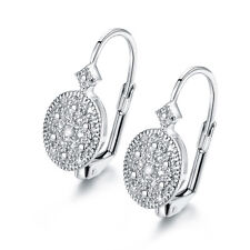 White Gold Plated .10CTTW Diamond Accent Huggie-Earrings