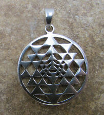 Sri Yantra Sterling Silver Pendant Yoga Chakra Jewelry for Necklaces Bracelets