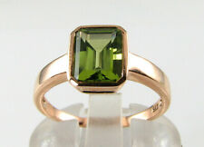 QUALITY 9K 9CT ROSE GOLD PERIDOT 8mm x 6mm ART DECO INS SOLITAIRE RING FREE SIZE