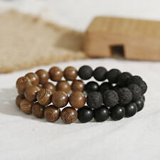 2Pcs Men Women 10mm Natural Lava Onyx Stone Wooden Beads Couple Bracelets Set