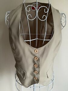 Zoe Women's Waistcoat Size 10 Ivory With Buttons Sleeveless Formal Business