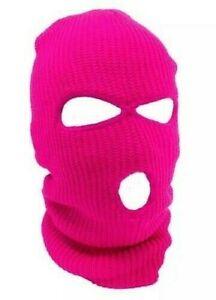 Neon Pink Ski Mask 3 Hole Balaclava Hood Full Face Winter Cap Adult Beanie Hat