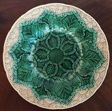 Antique Wedgwood Majolica Pottery Cauliflower Leaf Plate Botanical High Relief