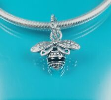 New! 2021 Authentic Pandora Charm Silver Sparkling Queen Bee Pendant Dangle s925