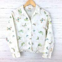 Talbots Petites Women's White Linen Butterfly Print Shirt Button Front Size 6