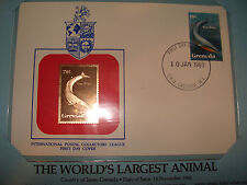 Grenada FDC w/ 23 kt gold replica Stamp 1983 Blue Whale World's Largest Animal