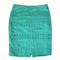 914fe98021 LOFT Women's Kelly Green Eyelet Embroidered Career Pencil Skirt Sz 2 Petite
