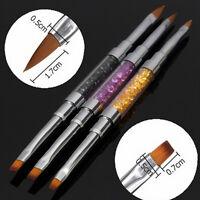 Nail Art UV Gel Rhinestone Handle Double-headed Acrylic Brush Pen DIYX1 NEW GF