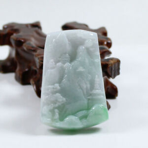 "Certified ""A"" Natural Emerald Green Jadeite Jade Gems Pendant Landscape 山水 j3638"