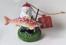 Cape Shore Christmas Ornament Santa Fishing Salmon Alaska New
