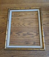 MID-CENTURY MODERN BAMBOO TIKI VTG GOLD WOOD PICTURE FRAME 20X16/20X24 PAINTING