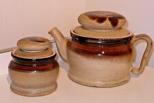 Vintage Laurentian Marble Stoneware Teapot & Tea Bag Jar Biscuit Canister Canada