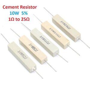 100Kohm 5Pcs//Lot 10W Wirewound Cement Resistor Ceramic horizontal 0.1ohm
