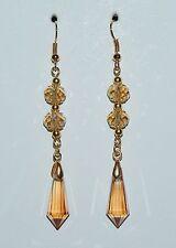 Golden Shadow Teardrop Briolette Crystal & Gold Long Dangle Earrings - NEW