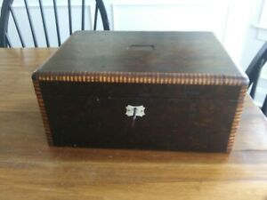 Antique Lap Desk Document Box With Mother Of Pearl Key Hole