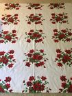 Beautiful+Rich+Colors+Vintage+Tablecloth+Red+Flowers+Green+62x70+Rectangle