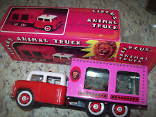 782 CIRCUS ANIMAL TRUCK LION Tin Friction Toy pink complete box late 1970s LOOK!