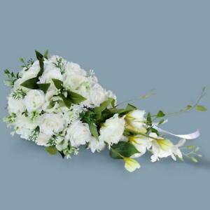 Wedding Bride Hand Bouquet Artificial Fake Flowers Cascading Rose Flowers