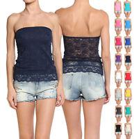 Themogan Womens Stretch Lace Bandeau Tube Top Fashion Strapless Semi Sheer Tank