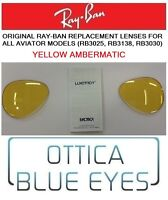 LENTI di Ricambio RAYBAN AVIATOR 3025 Ray Ban Replacement Lens YELLOW AMBERMATIC