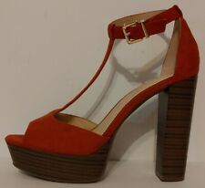 """NEW!! Jessica Simpson Pedey Rust Red Suede Sandals  5""""  Heels Size 8M US 38M EUR"""