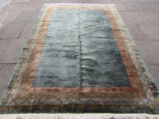 Vintage Hand Made Tibetan Art Deco Chinese Oriental Blue Wool Carpet 285x199cm