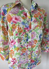 CHAPS WOMAN RALPH LAUREN Pink White Green Floral 3/4 Sleeve Blouse Plus 1X Exc.