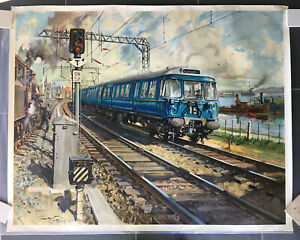 BLUE TRAIN AT BOWLING HARBOUR  Terence Cuneo  ORIGINAL RAILWAY POSTER - signed