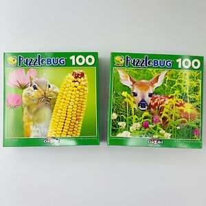 100 Piece Puzzles for Kids Puzzlebug Lot of 2, Chompy Chipmunk and Newborn Fawn