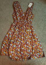 Rajrang Ladies Short, Sleeveless Dress, Elastic waist, Multi-Color floral, Md.