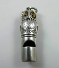 Victorian Solid Silver Novelty Owl Whistle by Sampson Mordan - Hallmarked 1897