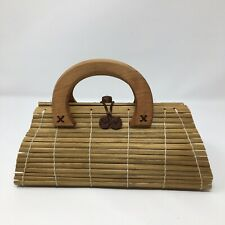 Ladies Retro Vintage Bamboo Wood Tote Handbag Lined Great Condition By ETC