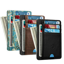 RFID Blocking Mens Leather Slim Wallet Money Credit Card ID Holder 7 Card Slots