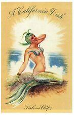 A Pretty Mermaid, A California Dish, Fish and Chips, CA Ocean -- Modern Postcard