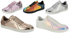 New Women Sequin Glitter Lace Up Shoes Holographic Comfort Athletic Sneakers