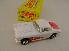 1983 MATCHBOX LESNEY SUPERFAST #71 1962 62 WHITE VETTE CORVETTE NEW IN BOX