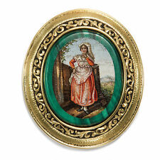 Rare Antique Micro Mosaic Brooch in Gold, Rome UM 1820 / Countryside Costume