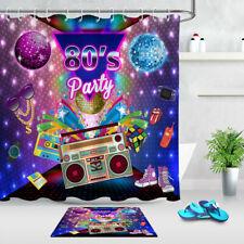 Waterproof Fabric Shower Curtain Set 80's Party Disco Ball Vintage Radio Design