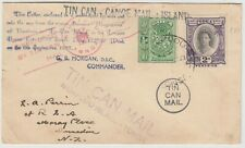TONGA 1937 *TIN CAN MAIL* cover to DUNEDIN NEW ZEALAND with fancy cancels (2)