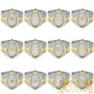 18K Custom 2 Tone Gold Tone Finish Zodiac Sign Astrology Horoscope Unisex Watch