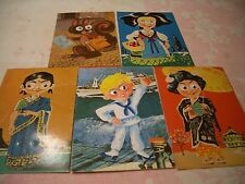 5 RARE VINTAGE ISRAELI 1960's MOVING GOOGLE EYES POSTCARDS, MADE ISRAEL, WOW!!!