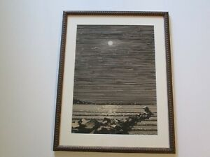 ANTIQUE AMERICAN PAINTING DRAWING ART DECO REGIONALISM POINTILLISM LANDSCAPE OLD
