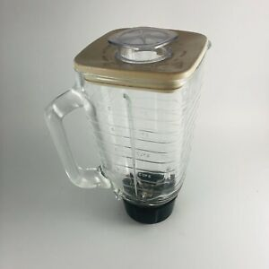 Oster Osterizer Galaxie Cycle Blend Blender Glass Pitcher /Lid Vintage Beige