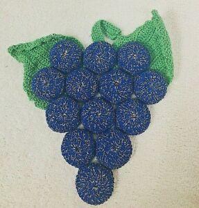 Cork Backed Bottle Cap Crocheted Grape Bunch Trivet