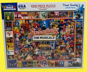 """White Mountain """"BROADWAY THE MUSICALS"""" 1000 Piece Puzzle * 1094 * / New Sealed"""