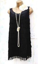 Taille 6 8 XS vintage H&M 20 S Gatsby Garçonne Charleston DECO FRANGE FRANGES Robe